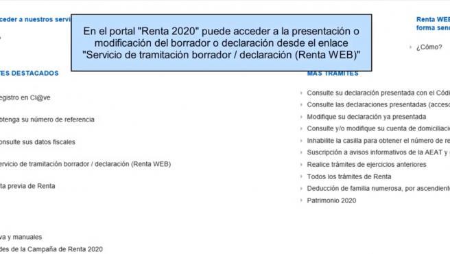 Borrador de la declaración de la renta 2020