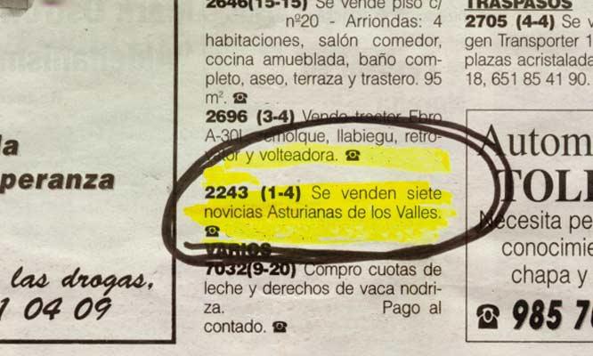 Anuncios insólitos en periódicos españoles