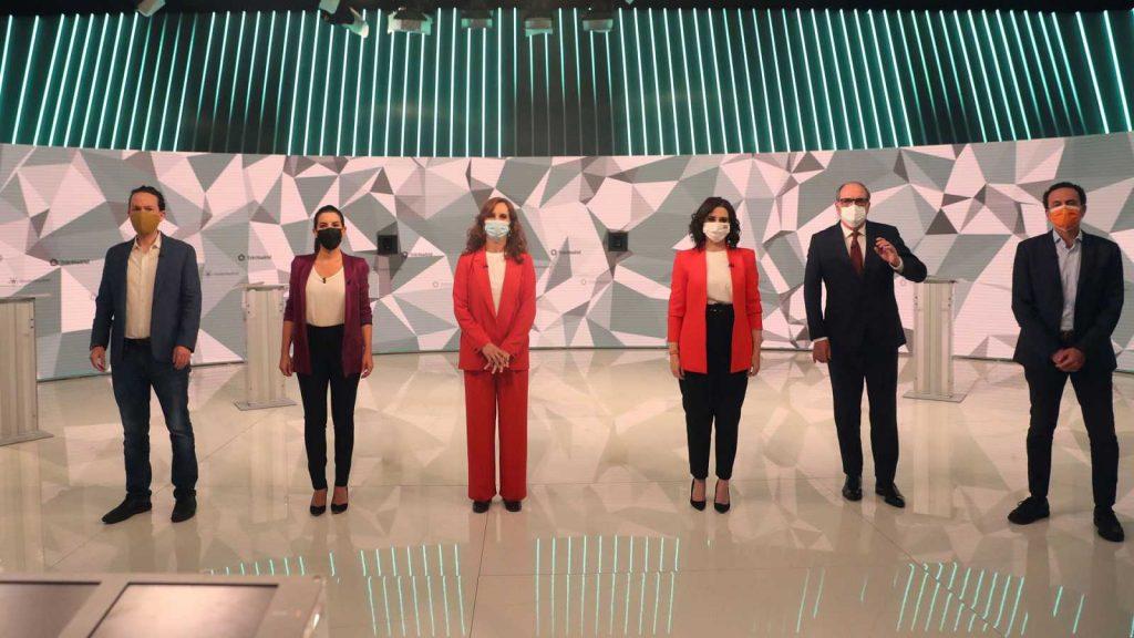 4-M: Foto de todos los candidatos en el debate previo a las elecciones de Madrid.