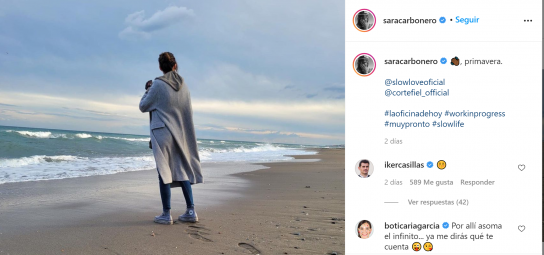 Sara Carbonero, sola, en una foto comentada por Iker Casillas.