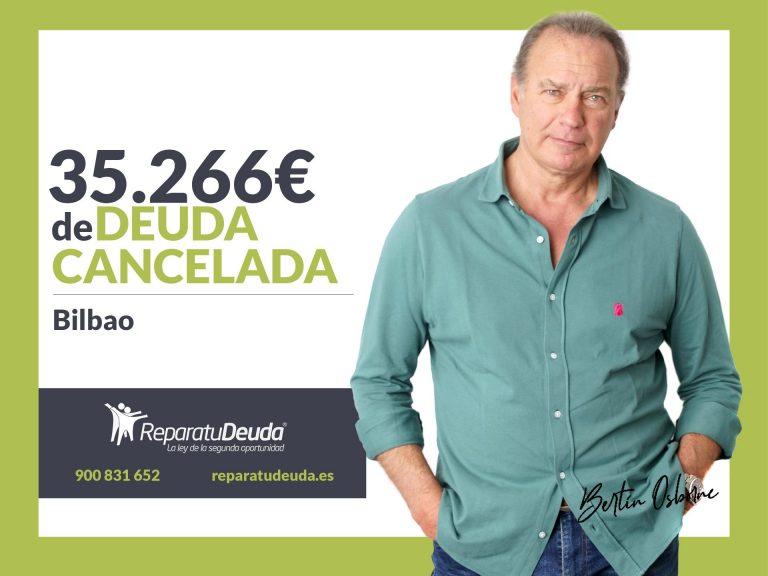 Repara tu Deuda Abogados cancela 35.266€ en Bilbao (Vizcaya) con la Ley de la Segunda Oportunidad